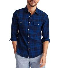 men's bonobos plaid madras button-up shirt, size medium - blue