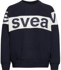 2 col big svea logo crew sweat-shirt tröja blå svea