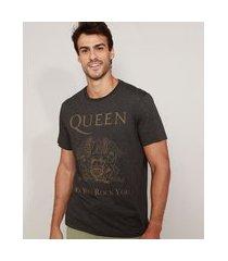 camiseta masculina de banda queen manga curta gola careca cinza mescla escuro