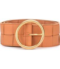 bottega veneta maxi woven leather belt - brown