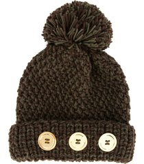 0711 button pompom beanie - brown