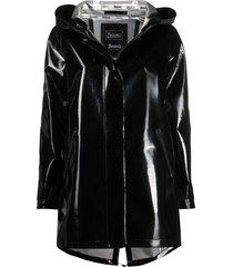 herno vinyl hooded jacket - black