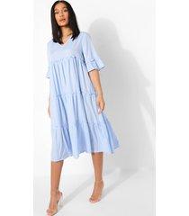 gesmokte jurk met laagjes en franjes, light blue