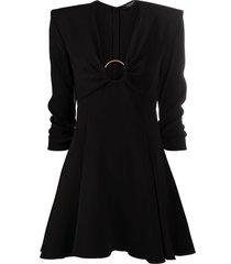 versace o-ring flared satin dress - black