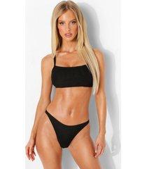 gekreukelde bikini top met vierkante hals en vollere cups, black