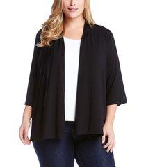 plus size women's karen kane 'molly' open jersey cardigan, size 1x - black