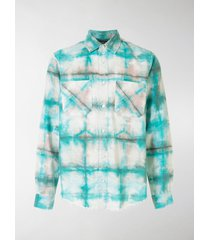 amiri tie-dye checked long-sleeve shirt