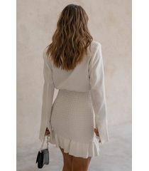 curated styles kavajklänning med smockdetalj - white