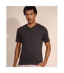 camiseta masculina básica manga curta gola v chumbo