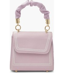 ruched handle top stitched mini grab bag, lilac