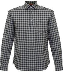 barena venezia checked long sleeve shirt - grey cau11852406