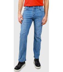 jeans ellus straight tiro alto lagoon elastic azul - calce straight fit