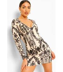 damask mini jurk met lange mouwen en pailetten, nude