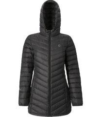 abrigo mujer agami stripe negro doite