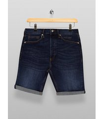mens blue dark wash denim skinny shorts