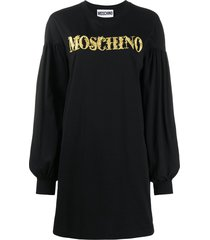 moschino cotton sweatshirt dress with gold embroidery and statement
