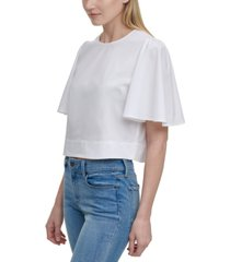 dkny flutter-sleeve cropped top
