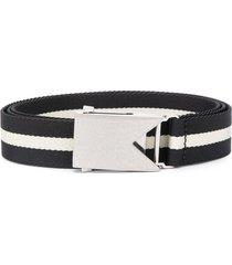 bottega veneta slide buckle striped belt - black