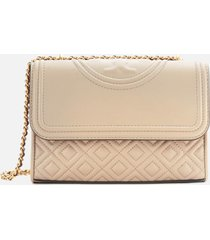 tory burch women's fleming small convertible shoulder bag - light taupe