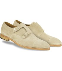 handmade men monk strap shoes, suede shoes, men  beige shoes, formal dress shoe