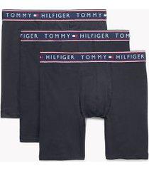 tommy hilfiger men's cotton stretch boxer brief 3pk navy blazer - s