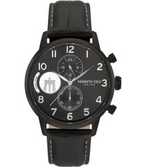 kenneth cole new york men's black genuine leather strap watch, 44mm