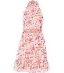 abito con scollo all''americana e balza (rosa) - bodyflirt boutique