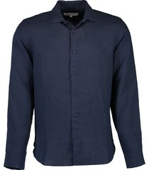 meden linen navy classic-fit shirt
