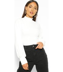 crepe high neck oversized sleeve top, ivory