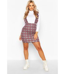 plus flannel ruffle pinafore dress, wine