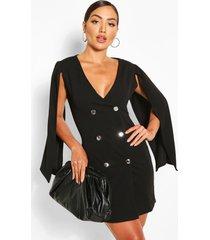 double breasted cape blazer dress, black