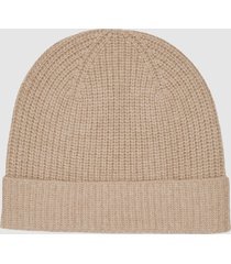 reiss harri - wool cashmere blend beanie in neutral, womens