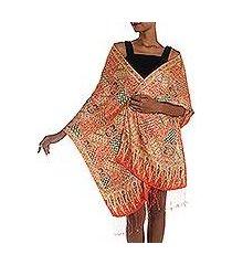 batik silk shawl, 'tangerine sekar jagad' (indonesia)