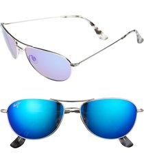 women's maui jim baby beach 56mm polarizedplus2 aviator sunglasses - silver/ blue hawaii