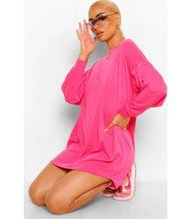 gerimpelde sweatjurk met verlaagde schouders, warm roze