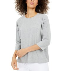 eileen fisher ribbed 3/4-sleeve top