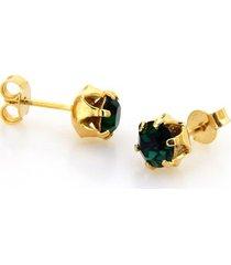 brinco horus import ponto de luz verde esmeralda banhado ouro amarelo 18 k - kanui
