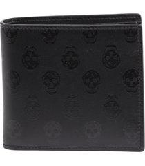 alexander mcqueen black leather skull wallet