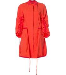 josie natori drawstring sleeve coat - red