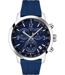 men's tissot prc 200 chronograph silicone strap watch, 43mm