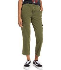 women's blanknyc garment dye twill cargo pants, size 30 - green