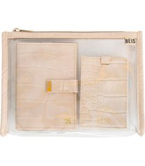 beis the travel set passport wallet, pouch & luggage tag - beige