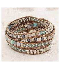 glass beaded wrap bracelet, 'beachcomber' (guatemala)