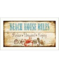 "trendy decor 4u beach house rules by mollie b, printed wall art, ready to hang, white frame, 11"" x 20"""
