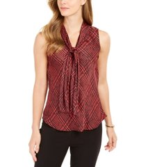 nine west plaid tie-neck top