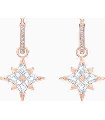 orecchini a cerchio swarovski symbolic star, bianco, placcato oro rosa