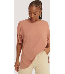 na-kd basic ribbed oversized tee - pink