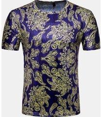 magliette casual da uomo a manica corta con stampa floreale a maniche corte in 3d
