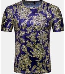 magliette casual estive da uomo manica corta con stampa floreale 3d da uomo