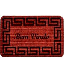 capacho carpet bem vindo rustico vermelho único love decor